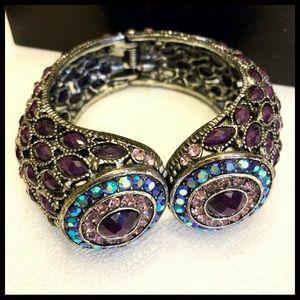Jewelry - Silver & Colored Gemstone Hinged Cuff Bracelet